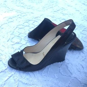 6b2460072604 Christian Louboutin Brown Peep toe Wedge heels 38
